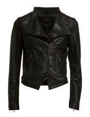 CULTU ZIP LEATHER JACKET - Black