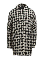 HOUNDSTOOTH COAT - Black