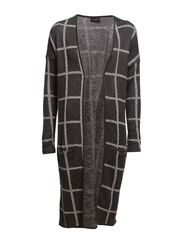 SCALA CHECK CARDIGAN - Dark Grey Melange