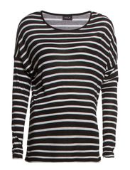 GYRAS L/S STRIPE TOP - Black