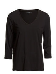 VIOFFICIEL 3/4 SLEEVE V-NECK WIDE TOP - Black