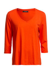 VIOFFICIEL 3/4 SLEEVE V-NECK WIDE TOP - Mandarin Red
