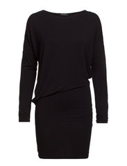 VITREND L/S DRAPE DRESS - Black