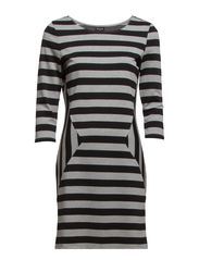 VIDOVE 3/4 SLEEVE DRESS - Light Grey Melange