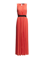 VITESS S/L LONG DRESS - Hot Coral