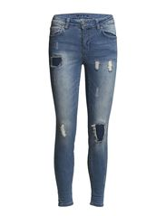 VICRUSH 7/8 5P SKINNY PATCH - Medium Blue Denim