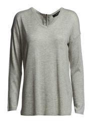 VILIS ZIP KNIT TOP - Light Grey Melange