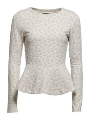 VIPEPLUM L/S TOP - Super Light Grey Melange