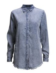 VIFRAYED OVERSIZED DENIM SHIRT - Light Blue Denim