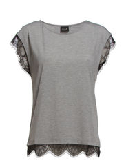 VILI LACE T-SHIRT - Light Grey Melange