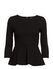 VIGAMONA PEPLUM 3/4 TOP/1 - Black