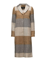 VIBROW BRUSHED LONG COAT - DUSTY CAMEL