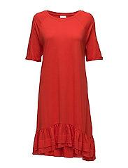 VIMARISA 2/4 SLEEVE DRESS - FLAME SCARLET