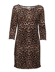 VITINNY PRINTET DRESS - OAK BROWN