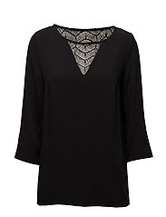 VISOMMI 3/4 SLEEVE LACE TOP-NOOS - BLACK