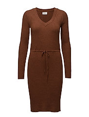 VIRIBANA L/S KNIT DRESS - TORTOISE SHELL