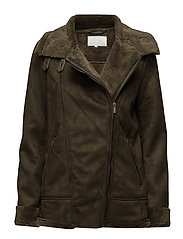 VIGREEN FAUX SHEARLING BIKER - IVY GREEN
