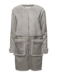 VIBECKA FAUX SHEARLING  COAT - GRAY VIOLET