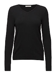 VIRIL L/S V-NECK KNIT TOP-NOOS - BLACK