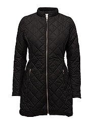 VIPIPPI LONG  QUILTED JACKET TB - BLACK