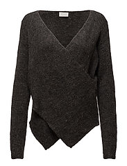 VICANT WRAP KNIT TOP-NOOS - DARK GREY MELANGE