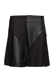 VISONIA FAUX LEATHER SKIRT P - BLACK