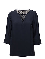 VISOMMI 3/4 SLEEVE LACE TOP-FAV - TOTAL ECLIPSE