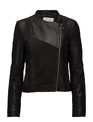 VISUSAN LEATHER JACKET - BLACK