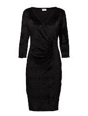 VISAKKO 3/4 DRAPE DRESS - BLACK