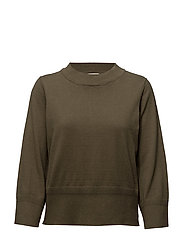 VIBEKKA 7/8 SLEEVE KNIT TOP - IVY GREEN