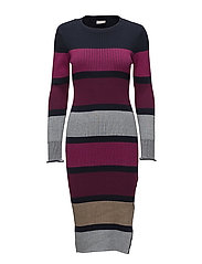 VISOLDA L/S KNIT DRESS - TOTAL ECLIPSE