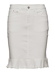 VICOMMIT PEPLUM DENIM SKIRT - WHITE ALYSSUM