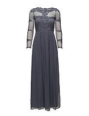 VIGEORGIOUS  L/S MAXI DRESS/DC - GRISAILLE