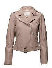 VIELLAS BELT LEATHER JACKET - ADOBE ROSE