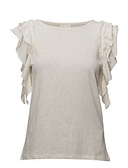 VIKATE S/L RUFFLE TOP - CLOUD DANCER