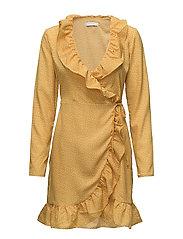 VIRIVERA WRAP DRESS/RX - NUGGET GOLD