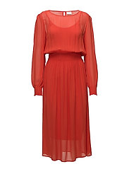 VINADIA SMOCK L/S MIDI DRESS - ORANGE.COM