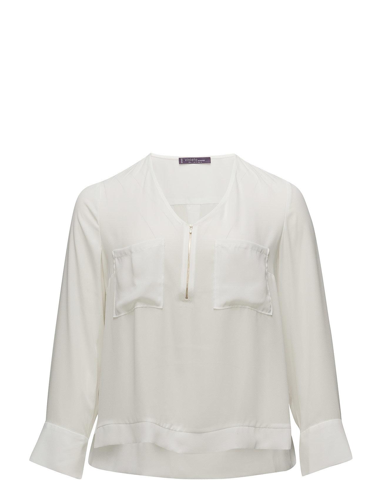 Zipped Flowy Blouse Violeta by Mango Langærmede til Damer i Natural White