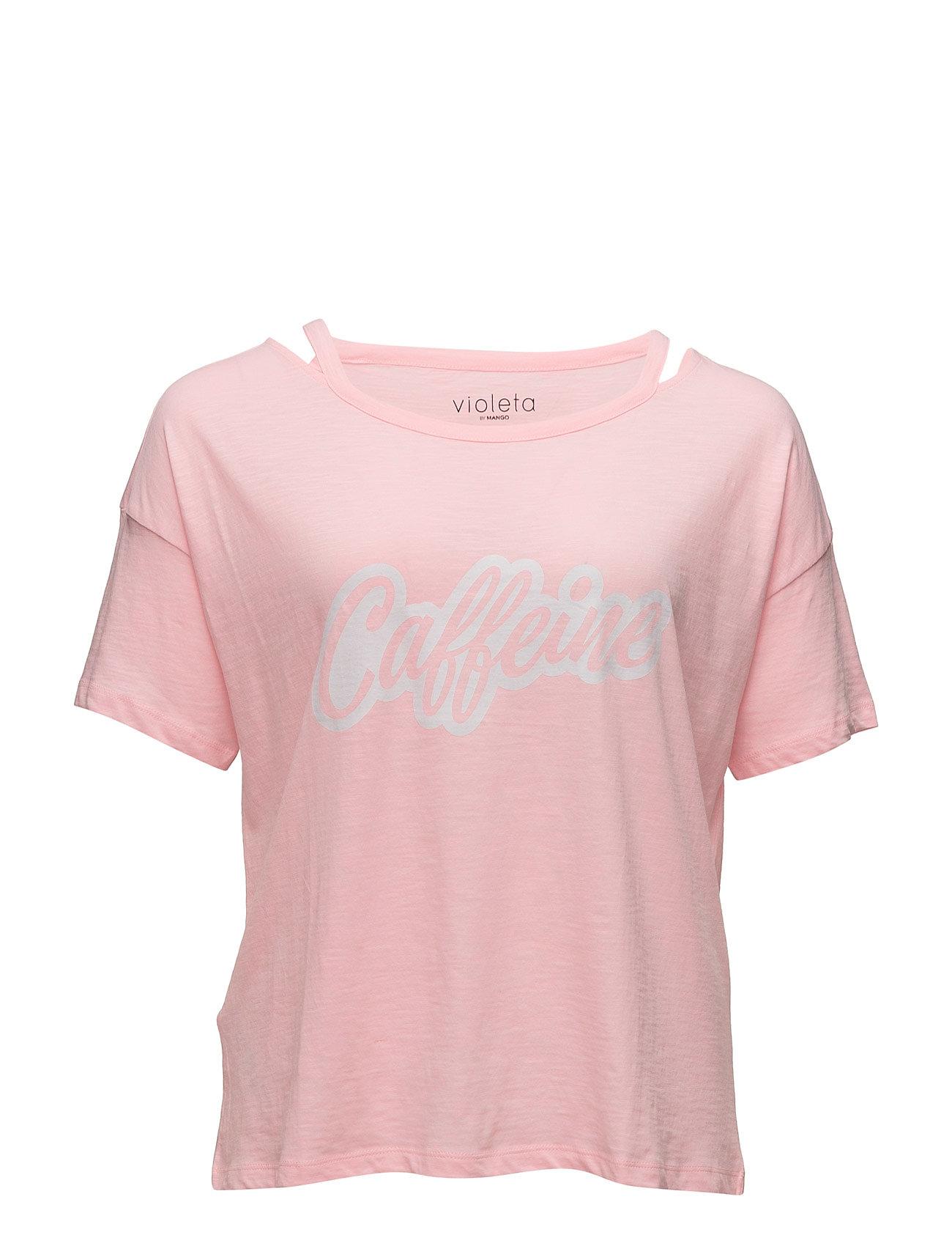 Message Off-Shoulder T-Shirt Violeta by Mango Kortærmede til Damer i Lyserød