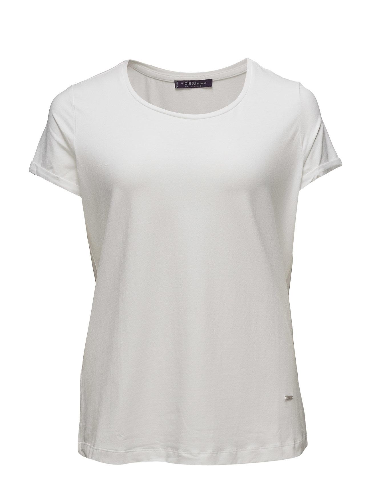 Essential Cotton T-Shirt Violeta by Mango Kortærmede til Damer i hvid