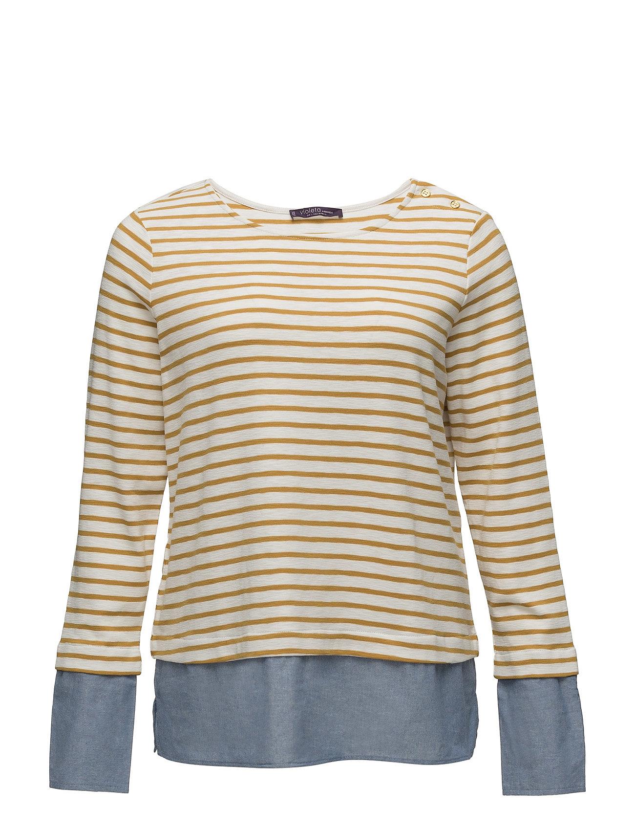 Striped Combi Sweatshirt Violeta by Mango Striktrøjer til Kvinder i Gul