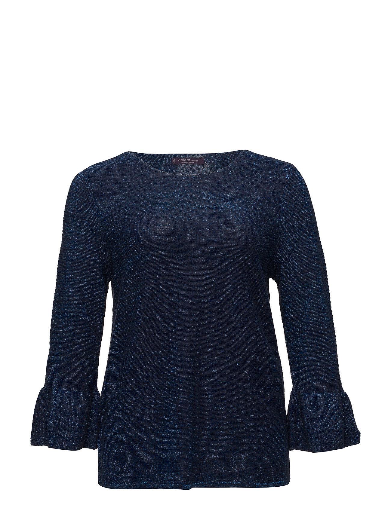 Ruffled Metallic Sweater Violeta by Mango Sweatshirts til Damer i Medium Blå