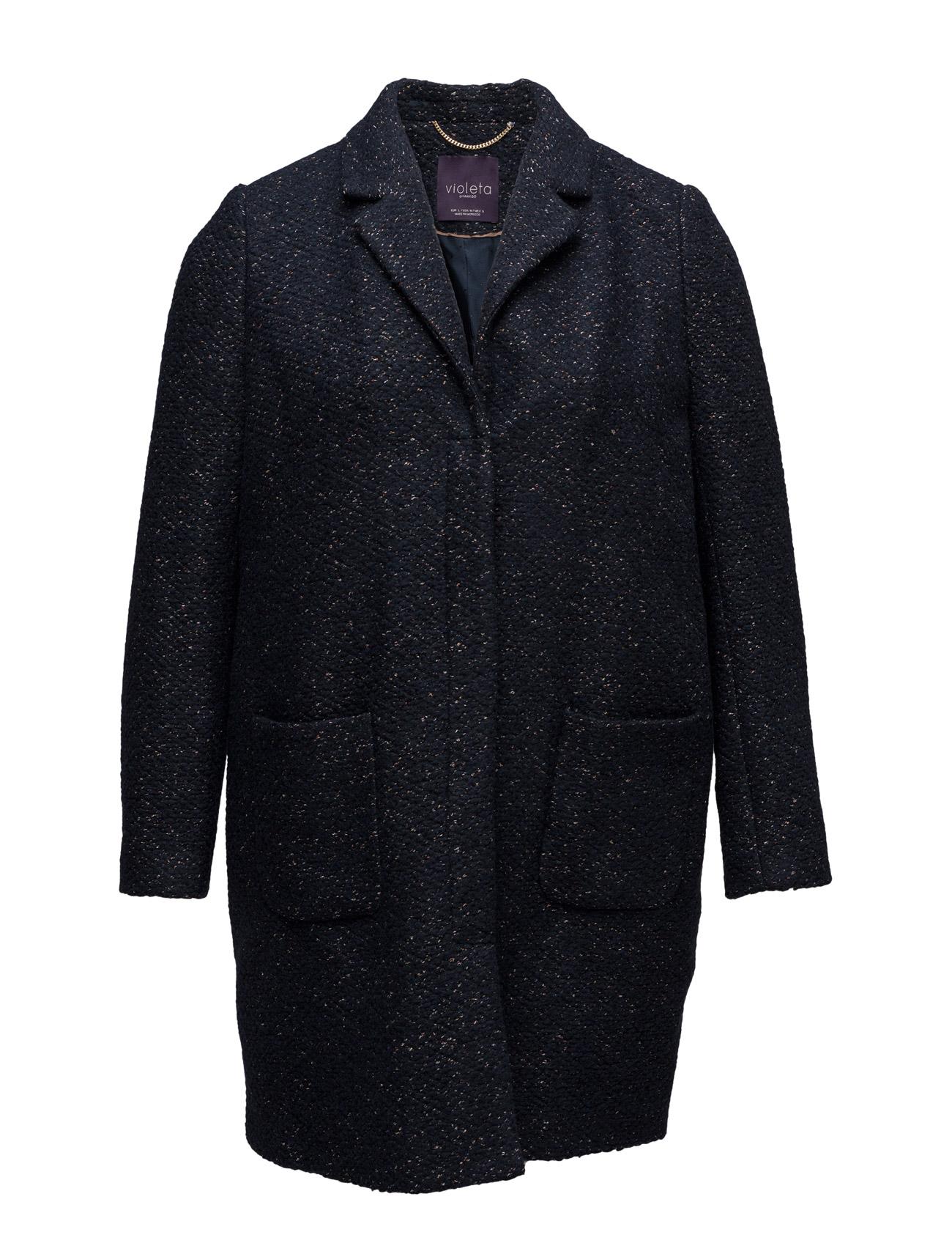 Flecked Wool-Blend Coat Violeta by Mango Frakker til Kvinder i Navy blå