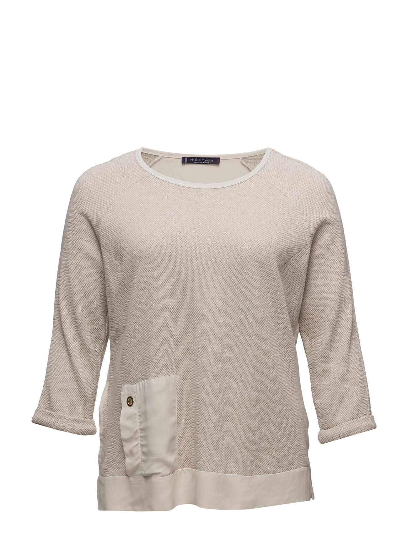 Metallic Cotton-Blend Sweatshirt Violeta by Mango  til Kvinder i Light Beige