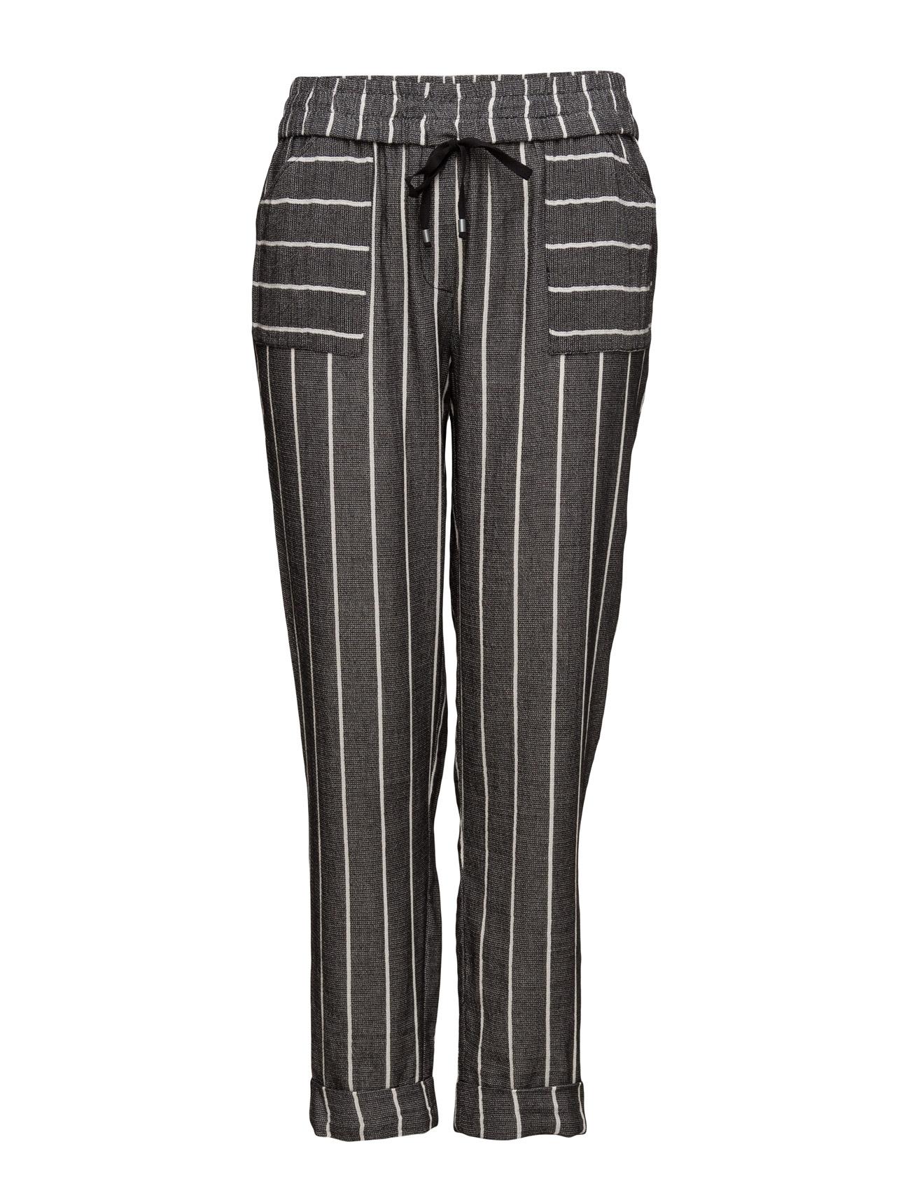 Striped Cotton Trousers Violeta by Mango Trompetbukser til Kvinder i Mellem grå