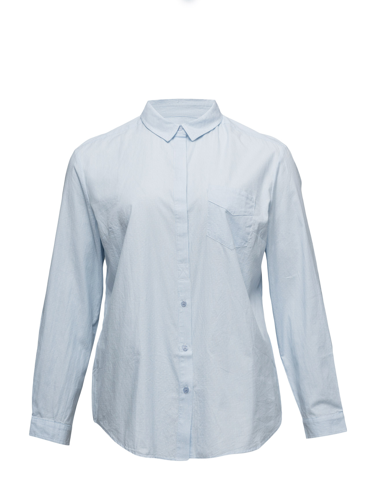 Chest-Pocket Cotton Shirt Violeta by Mango Langærmede til Kvinder i Lt-Pastel blå