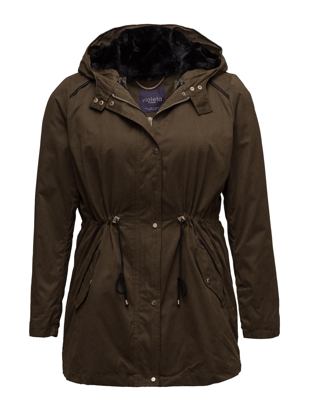 Faux-Fur Quilted Coat Violeta by Mango Frakker til Kvinder i Beige - Khaki