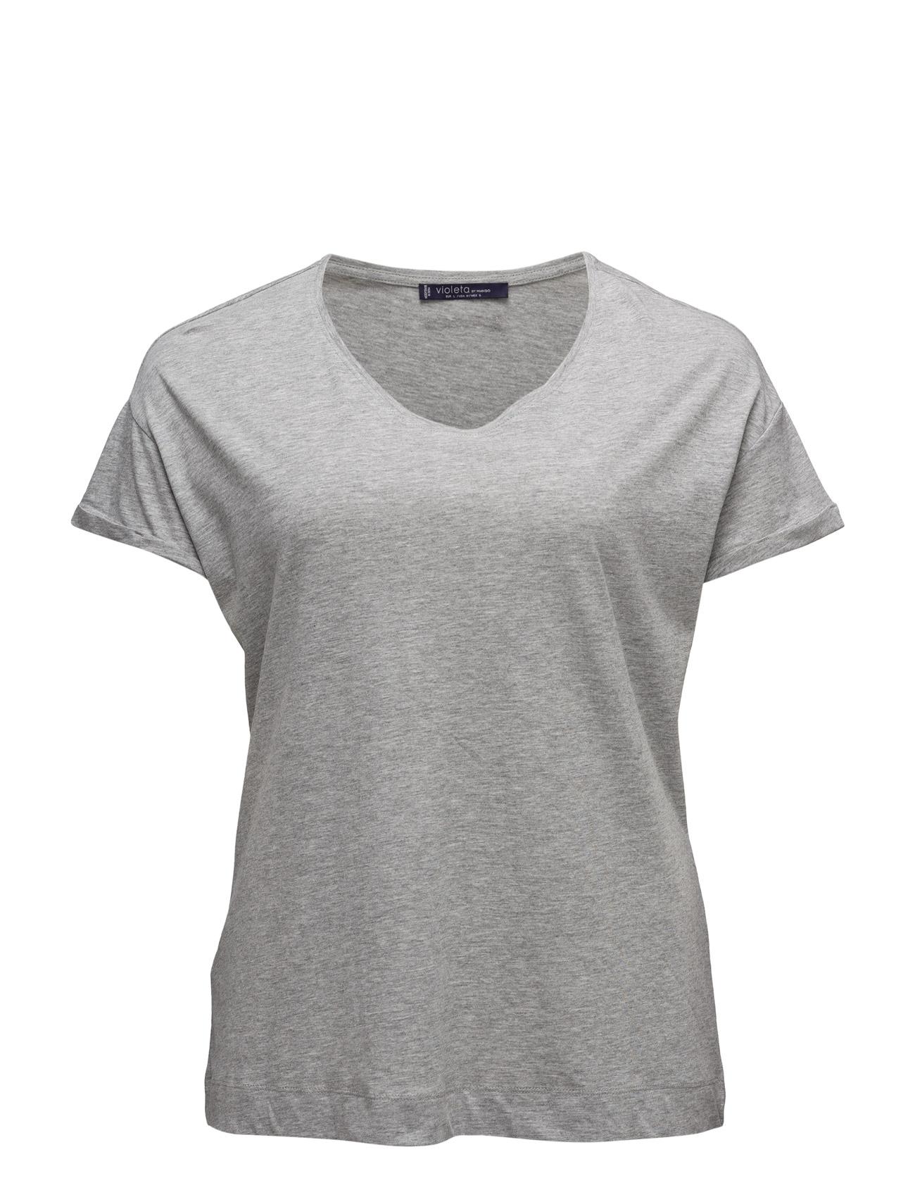 Essential Cotton T-Shirt Violeta by Mango Kortærmede til Kvinder i Mellem grå