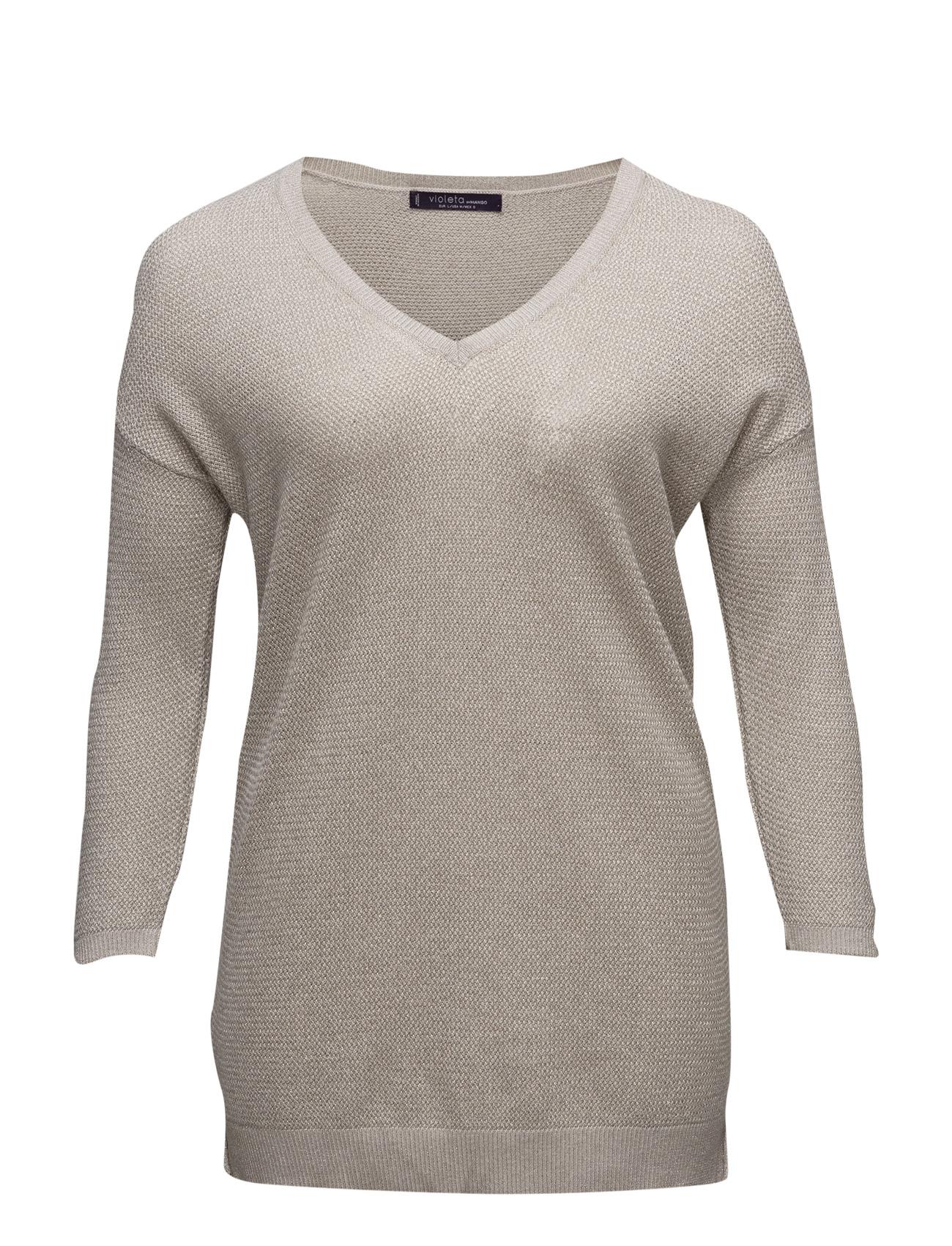 Metallic Wool-Blend Sweater Violeta by Mango Sweatshirts til Kvinder i Lt Pastel Brown