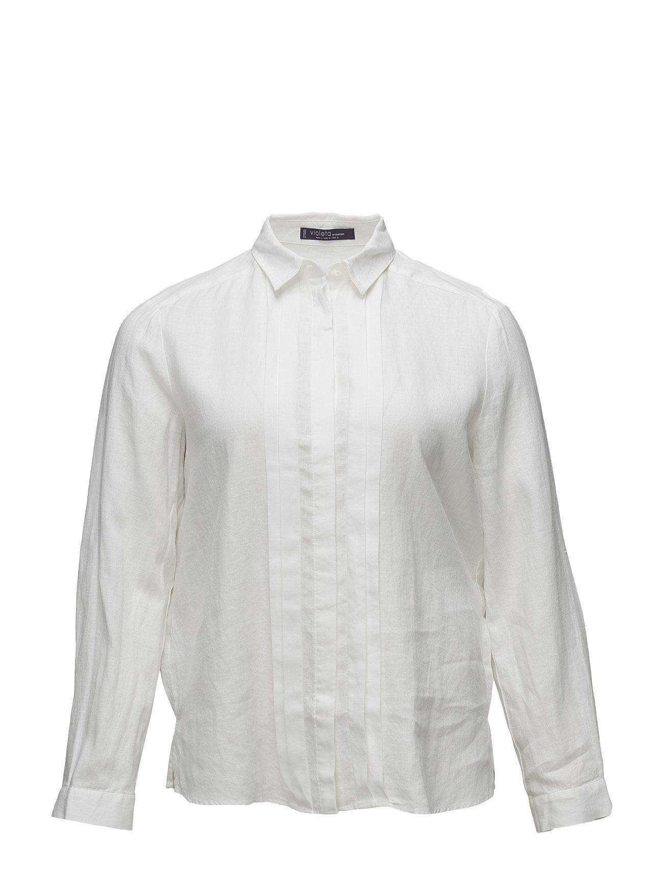Linen-Blend Trimmed Shirt Violeta by Mango Langærmede til Damer i